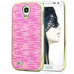 Imagem de Capa para Galaxy S4 i9500 com Tiras Horizontais Brilhantes - Rosa
