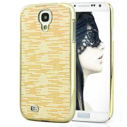 Imagem de Capa para Galaxy S4 i9500 com Tiras Horizontais Brilhantes - Dourada