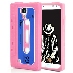 Imagem de Capa para Galaxy S4 i9500 de silicone estilo fita cassete - Rosa