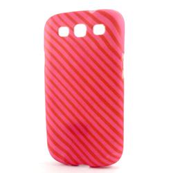 Imagem de Capa para Galaxy S3 i9300 de TPU - Vermelho e Rosa Listrada