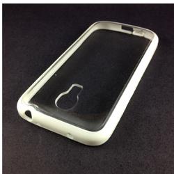 Imagem de Capa para Galaxy S4 Mini i9190 de TPU com traseira de acrílico transparente - Branca