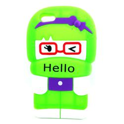 Imagem de Capa para iPhone 5 e 5S de Silicone 3D Hello - Verde