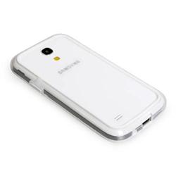 Imagem de Bumper para Galaxy S4 Mini i9190 de TPU com Plástico - Branco com Transparente