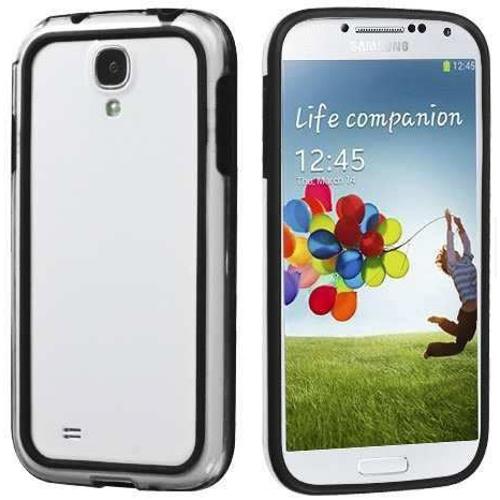 Imagem de Bumper para Galaxy S4 Mini i9190 de TPU com Plástico - Preto com Transparente