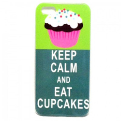 Imagem de Capa para iPhone 5 e 5S de Plástico - Keep Calm and Eat Cupcakes