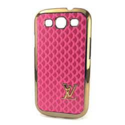 Imagem de Capa para Galaxy S3 i9300 de Plástico com Borda Dourada - Louis Vuitton Rosa