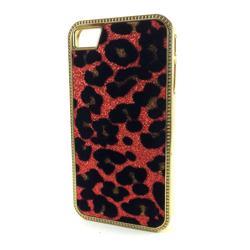 Imagem de Capa para iPhone 4 e 4S de Pele de Leopardo com Glitter - Vermelho