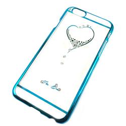Imagem de Capa para iPhone 6 Plus de Acrílico com traseira Transparente - Coração com Strass | Azul