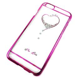 Imagem de Capa para iPhone 6 Plus de Acrílico com traseira Transparente - Coração com Strass | Rosa