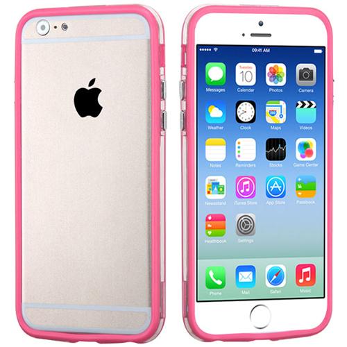 Imagem de Bumper para iPhone 5C de TPU - Rosa com Transparente
