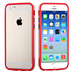 Imagem de Bumper para iPhone 5C de TPU - Vermelho com Transparente