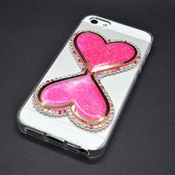 Imagem de Capa para iPhone 5 e 5S de TPU - Ampulheta com Strass   Rosa Fluorescente