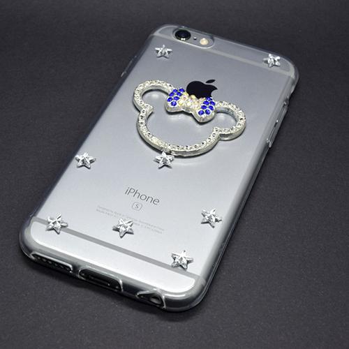 Imagem de Capa para iPhone 5 e 5S de TPU com Strass - Minnie | Lacinho Azul