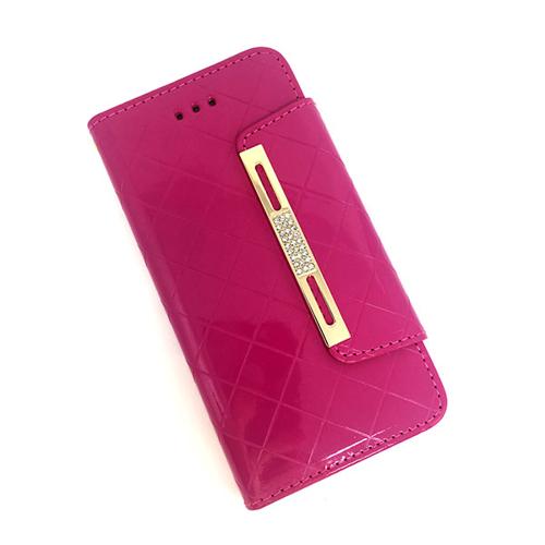 Imagem de Capa Para IPhone 6 e 6S De Couro Sintético Estilo Carteira - Rosa Com Strass