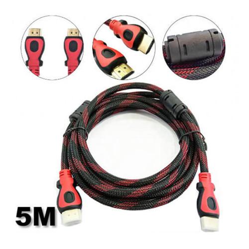 Imagem de Cabo HDMI x HDMI 5 metros - Versão 1.4 - 3D | Preto com Vermelho