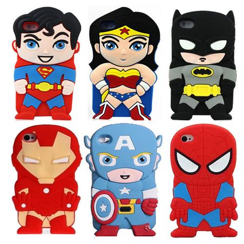 Imagem de Capa para iPhone 6 e 6S de Silicone 3D - Super Heróis