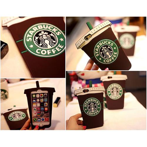 Imagem de Capa para Iphone 6 e 6S de Silicone 3D - Starbucks | Marrom