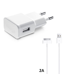 Imagem de Carregador de Parede e Cabo de Dados USB para iPhone 4 e 4S iPad 2/3/4 de 2A - Branco | KinGo