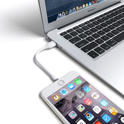 Imagem de Cabo de dados para iPhone e iPad Lightning 30cm - Hrebos | Branco