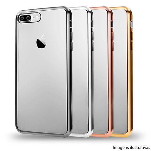 Imagem de Capa para iPhone 5 e 5S de TPU - Transparente com Borda Cromada
