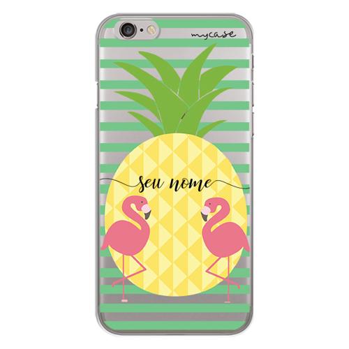 Imagem de Capa para celular - Abacaxi e Flamingo | Com Nome Manuscrito