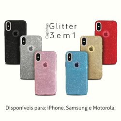 Imagem de Capa para Moto G6 Plus de Plástico com Glitter