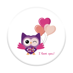 Imagem de Pop Socket - I Love You - Coruja Romântica estilo Flat