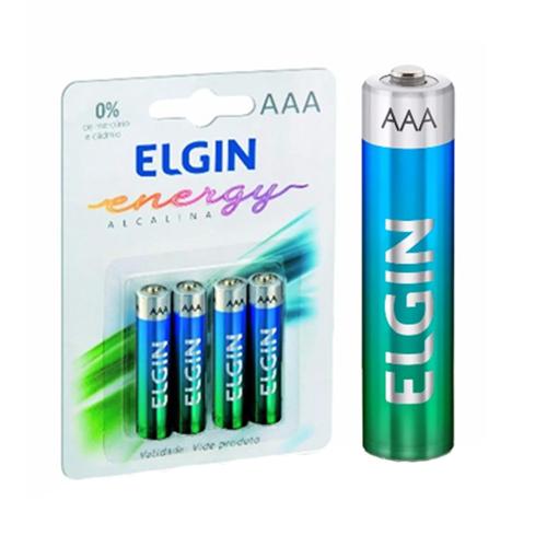 Imagem de Pilha ALCALINA AAA Palito ELGIN | Conjunto Com 4 unidades