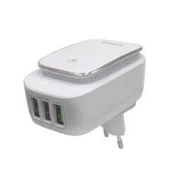 Imagem de Carregador de Tomada com 3 Entradas USB 3.4A e Lâmpada - Kaidi