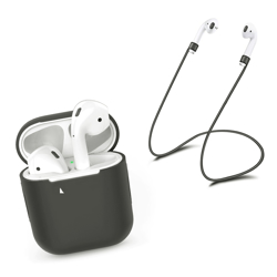 Imagem de Capa de Silicone para AirPod Apple com Corda Anti Perda - Cinza