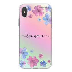 Imagem de Capa para celular Holográfica - Flores   Com Nome Manuscrito