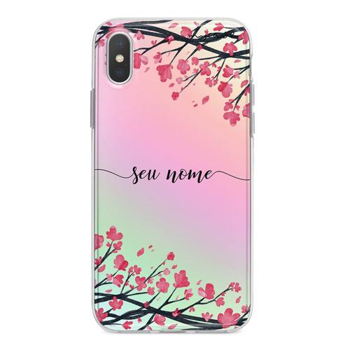 Imagem de Capa para celular Holográfica - Flor de Cerejeira | Com Nome Manuscrito