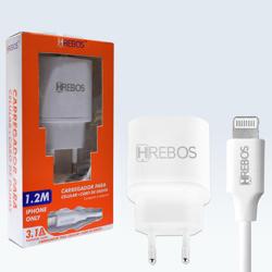 Imagem de Carregador de Tomada com 2 Entradas USB e cabo de dados lightning - Hrebos | Branco
