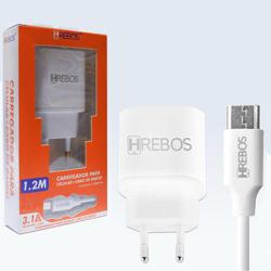 Imagem de Carregador de Tomada com 2 Entradas USB e cabo de dados Tipo C - Hrebos | Branco