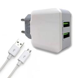 Imagem de Carregador com 2 entradas USB e Cabo Micro USB 3.1A - Hmaston